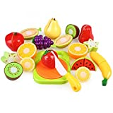 Peradix Play Food Cutting Fruit Set for Kids Pretend Role Play - Plastic Toy Food Kitchen Accessory (with Sticker & Apron)