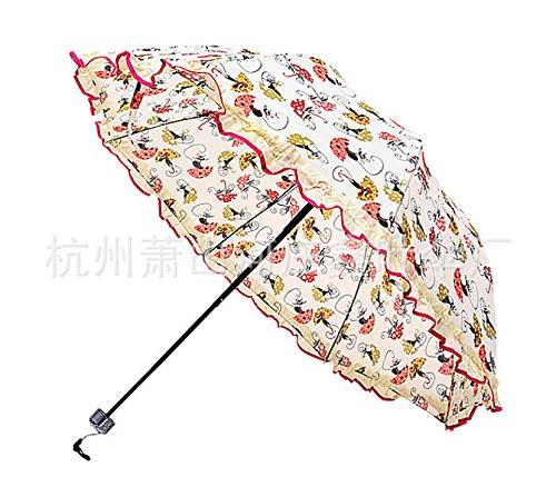 SBBCW Koreanisch Spitze Druck Prinzessin Sonne Sonne Regen Oder Sonnenschein Mit Doppeltem Verwendungszweck Gewölbte Dreifach Dame Regenschirm