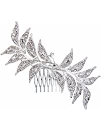 Clearine Mujeres Bohemian Boho Leaf Cristal Encantador Beaded Boda Nupcial Bling Peinetas
