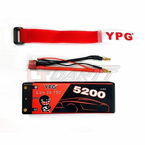 GARTT YPG - batteria LiPo, 7,4 V, 5200 mAh, 75C, 2S, per auto da corsa, barche, camion e buggy RC