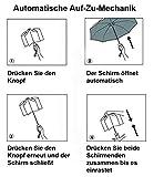 Regenschirm Taschenschirm | VAN BEEKEN – windtest bei 140 km/h, wasserabweisende Teflon-Beschichtung, leicht, klein & kompakt – stabiler Schirm mit voll-automatischer Auf-Zu-Automatik, schwarz 95cm - 7