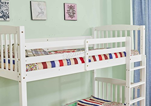 FoxHunter 3FT Bunk Bed Wooden Frame Kids Children Sleeper No Mattress Single Bedroom Home Furniture White BB02 New