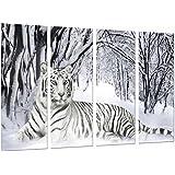 Cuadro Moderno Fotografico Tigre Blanco en Naturaleza Nevada, 131 x 62 cm, ref. 26740