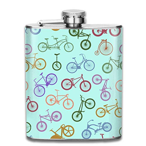 Miedhki 7OZ Stainless Steel Flask, Funny Retro 1970's Style BMX Silhouette (3) Pattern Liquor Flask, Flasks for Mens and Womens