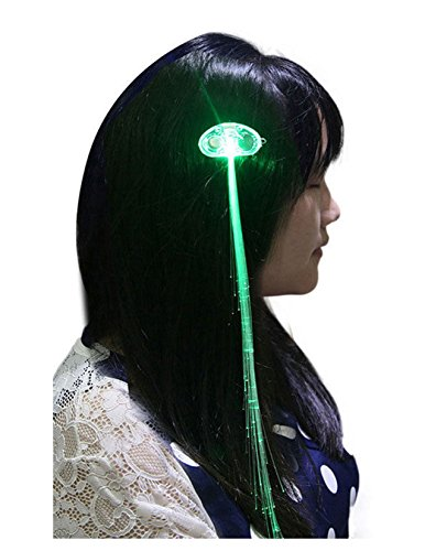 ultra-1-x-light-up-fibre-optic-hair-clip-clip-in-green-led-hair-extensions-sets-of-fiber-led-hair-ex