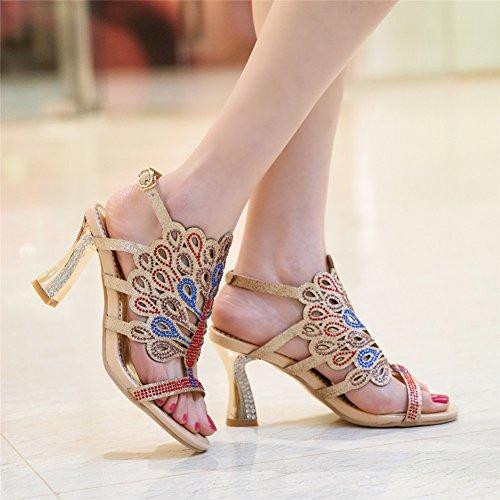 Damen Open Toe Sandalen High-Heels Blockabsatz Rhinestone Kristall Slingback Schnalle Gold