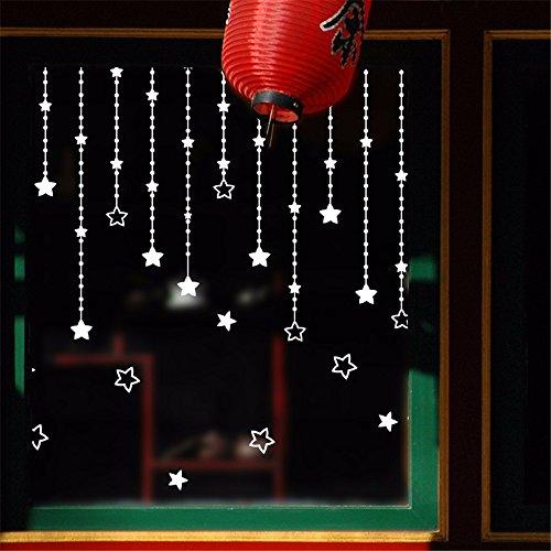 Bomeautify adesivi e murali da parete murale semplice e moderna decorazione impermeabile della parete del negozio autoadesivo autoadesivo della finestra e della finestra di vetro della finestra e della tenda bianca della stella, 35 * 50cm