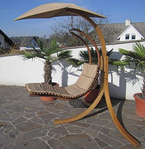 DESIGN Hängeliege NAVASSA mit Gestell aus Holz Lärche komplett mit Hängeliege und Dach von AS-S, Farbe:Braun - 3