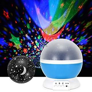 asiawill 360Grad Colorful drehbar Nachtlicht Lampe Romantische Cosmos Star Sky Night Projektor USB Projektor Lampe für Schlafzimmer Kinder Kinder blau