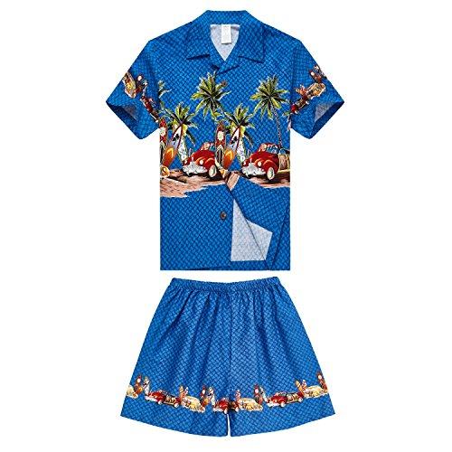 Chico-Hawaiian-Aloha-Luau-camisa-y-pantalones-cortos-Set-de-2-piezas-de-cabaa-en-Blue-Cars-4