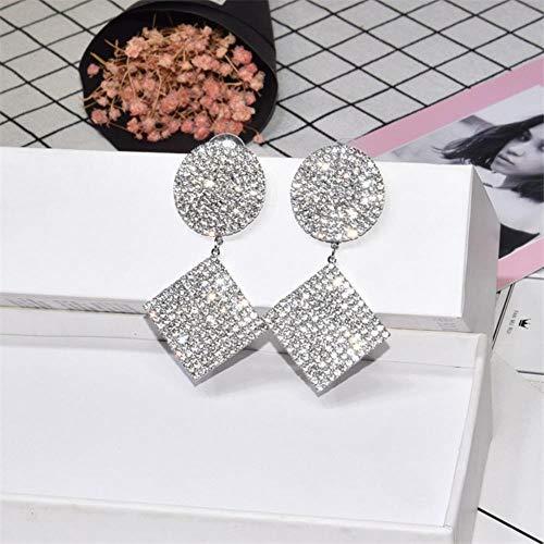 KFYU Brand Design Round Square Damen Ohrringe Geometrische Ohrringe Voll Mit Strass Messing Schmuck Großhandel Silber