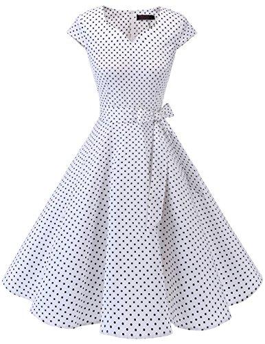 DRESSTELLS Version 6.0 Vintage 1950's Robe de soirée Cocktail rétro Style années 50 Manches Courtes White Small Black Dot 2XL