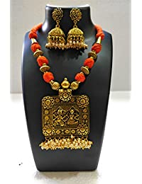 Shreevari Exclusive Gold Plated Traditional Kathyawadi Necklace Set For Women / Jewellery Set With Earrings For... - B07BHL2C3J