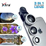 #9: XTRA Universal Clip-On 3 in 1 Mobile Cell Phone Camera Lens Kit, 180 Degree Fisheye Lens + 0.67X Wide Angle + 10X Macro Lens, With Lens Clip Holder, Silver