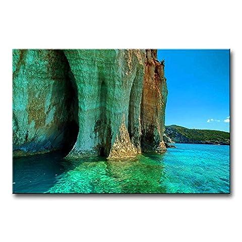 Leinwanddruck Bild Cliff in the Bay klares Wasser Beautiful Mountain Gemälde Moderne Giclée-gespannt und gerahmt Artwork Öl der Seascape Bilder Foto Prints auf Leinwand