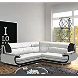 Muebles Bonitos – Sofá Luana New blanco con negro - chaise longue Derecha