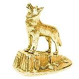 Lobo (Aullar) Hecho en Reino Unido Artístico Animal Figura Colección (bañoda en oro de 22...
