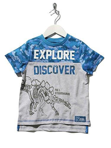 Natural History Museum Kids Short Sleeve Crew Neck Blue Grey Camo Slogan Dinosaur Print T-Shirt