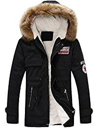 OverDose abrigos hombre invierno chaqueta larga con capucha gruesa de algodón con cremallera