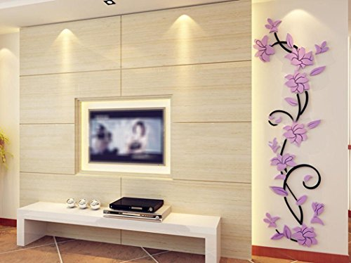 Price comparison product image Indexp 3D Stereoscopic DIY Crystal Plant Flowers Wall Stickers for Living Room Bedroom TV Background Home Decoration (Purple)