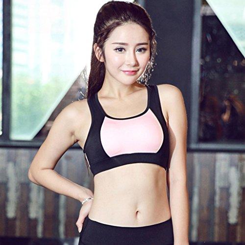 ny Shocked Gather Mouvement Soutien-gorge rapide sec respirant Running Yoga Fitness sans anneau en acier Sports sous-vêtements Rose