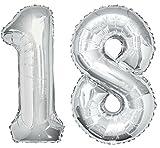Vetrineinrete Palloncini gonfiabili a Numero 18 Anni Gigante Decorazione per Feste di Compleanno festoni in Argento con Cannuccia G41