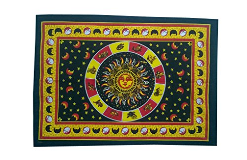 Shubhlaxmifashion Tie Dye Tapisserie Horoskop Sternzeichen Wandbehang Decor Wohnheim Hippie Tapisserie Indischen Astrologie Trippy Psychedelic Sun Tapisserie Poster (Teal Decor Tabelle)