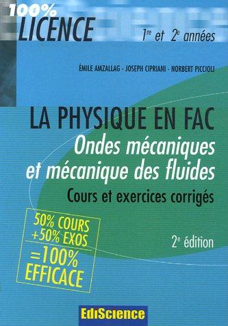 Ondes mécaniques et Mécanique des fluides : Rappel de cours et exercices corrigés de Physique