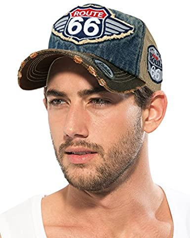 ililily Route 66 Wing Logo Patch Denim Mesh Back Snapback