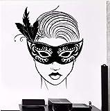 Wandtattoo Karnevalsmaske Maskerade Sexy Hot Girl Sexy Vinyl Aufkleber 55x71cm