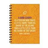 #9: Notebook | A Good Leader Printed Notebook | Motivational Quotes Printed | Funny Printed Notebook | Designer Wire Bound Ruled Paper Sheets Personal and Office Stationary Notebooks Diary by 100yellow (A5 Size)
