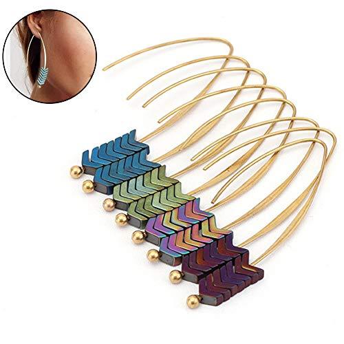 Homeofying Frauen Vintage Pfeile baumeln Lange Haken Ohrringe geometrische Partei Schmuck Geschenk Ohrringe für Frauen Lila