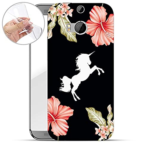 finoo | HTC One M8 Weiche flexible Silikon-Handy-Hülle | Transparente TPU Cover Schale mit Motiv | Tasche Case Etui mit Ultra Slim Rundum-schutz | Bad Einhorn