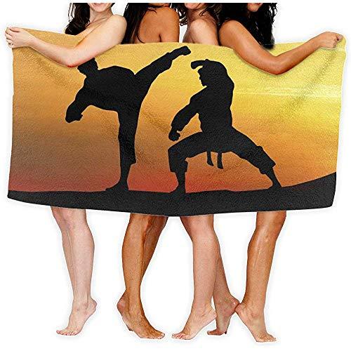 ElRLSHDH Badetuch-Karate Silhouette Gedruckt Badetuch Dusche Wrap Strand Bad Körper Handtücher Waffel Körper Wrap Spa Home Travel Hotel Verwenden