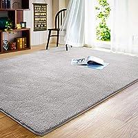 LOCHAS Fluffy Living Room Rug, 120X180cm Indoor Non Slip Carpet for Bedroom, Soft & Cozy Shaggy Nursery Rugs Non-Slip Kids Play Mat, Grey