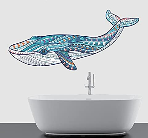 Colourful Patterned Whale Mural Wall Art Vinyl Sticker - Bathroom Living Room Kitchen Decal Transfer - MEDIUM - 50cm x 25cm - SELECT SIZE FROM MENU BELOW