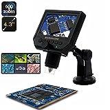 HD 3.6 Mp Microscopio Digitale Portatile + Schermo LCD 4.3 – Microscopio digitale/videocamera fotocamera + micro SD Card Slot, acquisizione di foto e video …