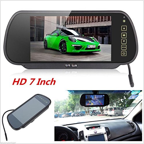 Voberry Dash Cam, 7 Zoll LCD Farbbildschirm Auto Reverse Rückfahrkamera DVD Spiegel Monitor