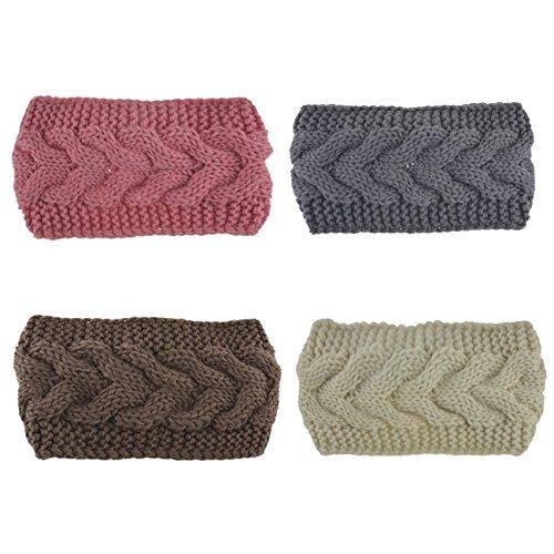 DRESHOW Damen Schleife Design Stirnband Winter Kopfband Haarband Stirnband Häkelarbeit (Details Stirnband)