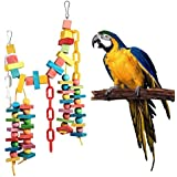 POPETPOP Parrot Chew Toys Colorful Wooden Bridge Log, Flexible Bite String Pendant Birds Cage Accessories For Parrots Cockatiel African Greys Cockatiel
