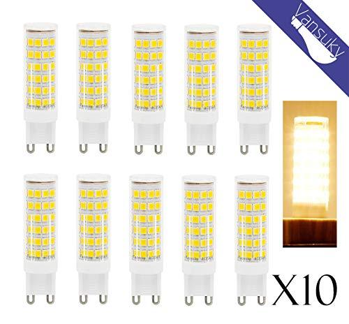 Weiße Led-dienstprogramm Licht (Vansuky 10 x G9 6.5W LED-Lampen, 3000K Warm weiße LED-Lampen, CRI > 80, 75LEDs 2835SMD, 55W Halogen Lampen Äquivalent, 600LM, AC 220 ~ 240V, Abstrahlwinkel 360°, LED Energiesparlampen)