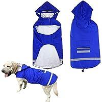 1c36eead82d132 Verstellbare wasserdichte Pet Hunde Regenmantel mit Reflektorstreifen für  Night & Verstellbarer Klettverschluss & kleine Rückentasche,