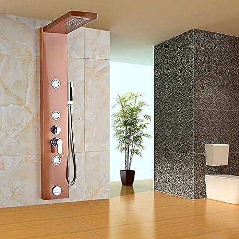 Fx@ Lusso in acciaio inox costruzione pannello doccia con cascata pioggia testa parete corpo montato spruzzatore getti doccetta in ottone