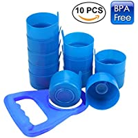 Anti-salpicaduras, tapas de botella reutilizable para 55mm 3y 5gallon jarras de agua con tapón antigoteo con botella de agua mango  10pcs