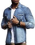 LEIF NELSON Herren Biker Hemden Männer Overshirt Freizeithemden Denim Jeans Jacke Weste Destroyed Verwaschen Vintage Gesteppt Langarm Kurzarm LN3375; Größe M, Blau