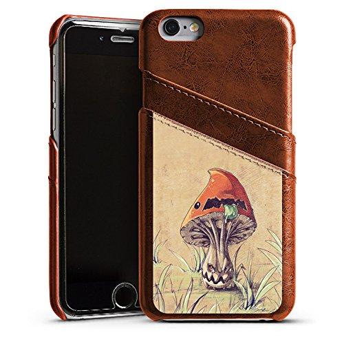 Apple iPhone 4 Housse Étui Silicone Coque Protection Amanite tue-mouches Plante Champignon Étui en cuir marron