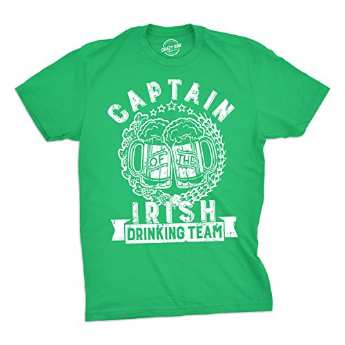 Patricks Day Irish T-shirts (Crazy Dog Tshirts Mens Captain of The Irish Drinking Team Tshirt Funny St Patricks Day Tee For Guys -M - Herren - M)