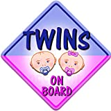 BABY FACE BOY AND GIRL TWINS Non personalised novelty baby on board car window sign.