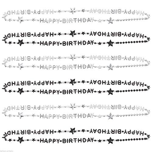 6 Halsketten Happy Birthday Black/Silber 81cm