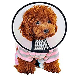 Dog Cone Collar,legendog Adjustable Protective Velcro Elizabethan Dog Cat Cone Collar For Wound Healing Grooming Bathing White & Black L